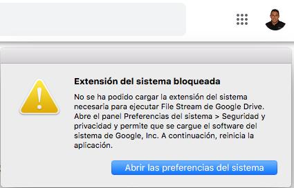 Extensión del sistema bloqueada en MAC Aplicación de Google Drive